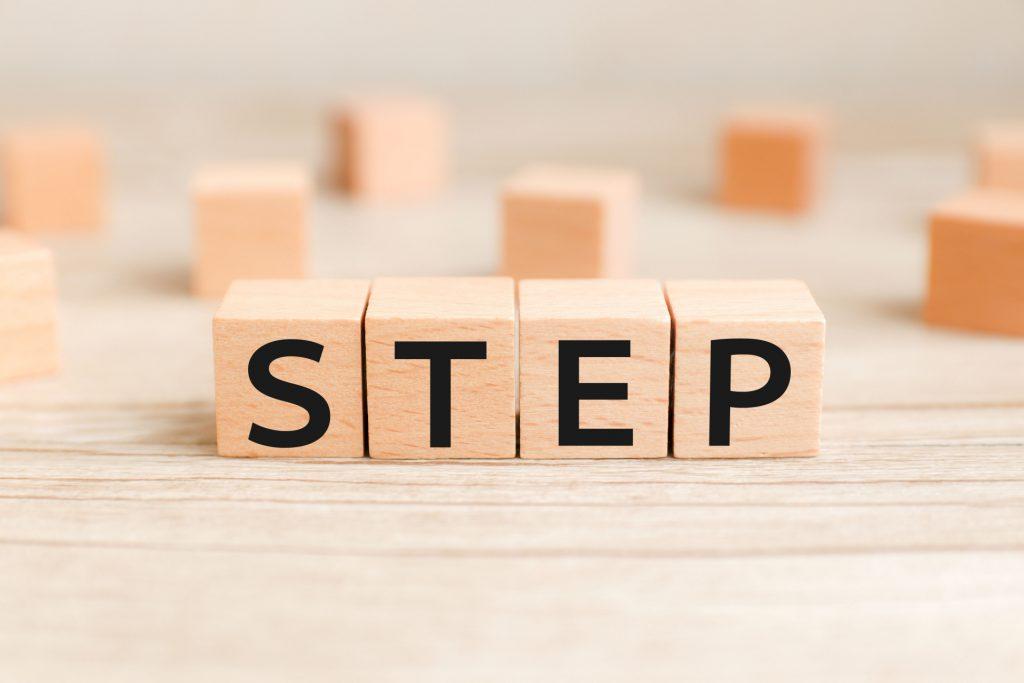 助成金の申請手順を表すステップの文字