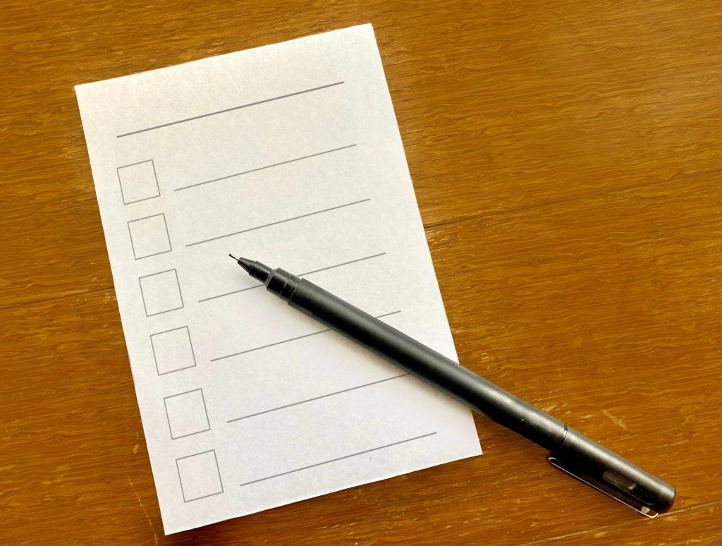 助成金申請に必要な書類のチェックリストイメージ
